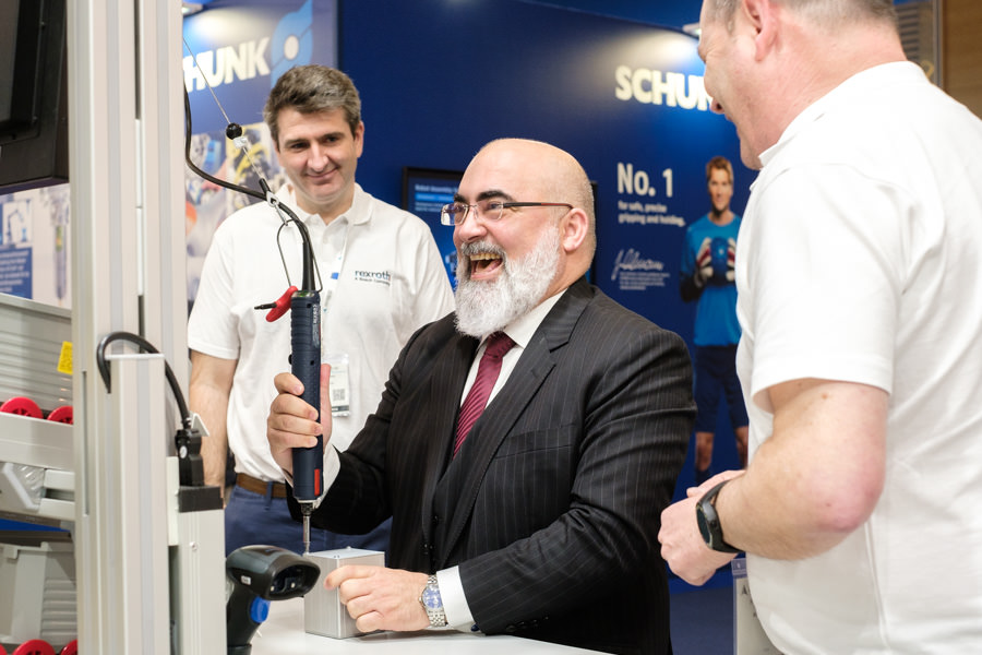 A photograph Javier Garcia (of SCHUNK) laughing at the Advanced Factories event in Barcelona.