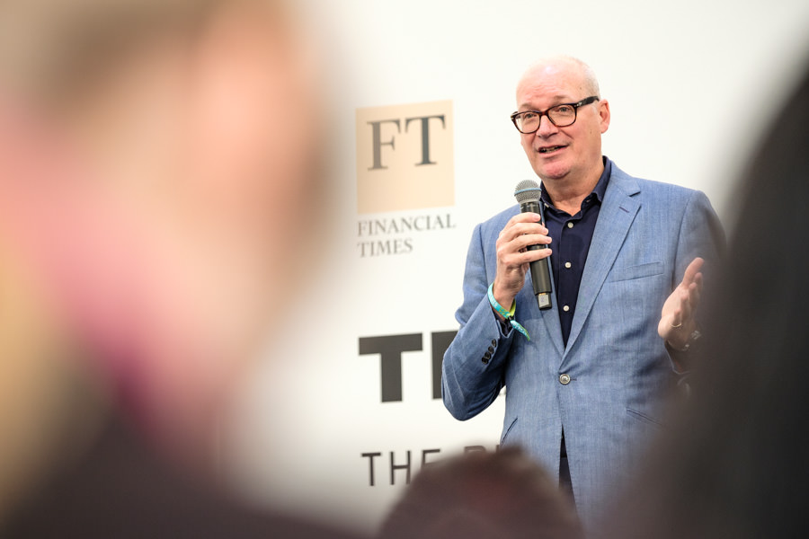 Event photography of James Cameron talking on stage at the Financial Times, TNW Amsterdam.