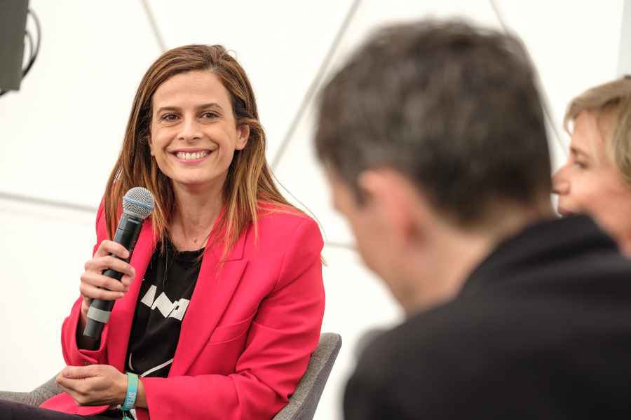 A photograph of Francesca Bria, at the Financial Times stage at the TNW event in Amsterdam.