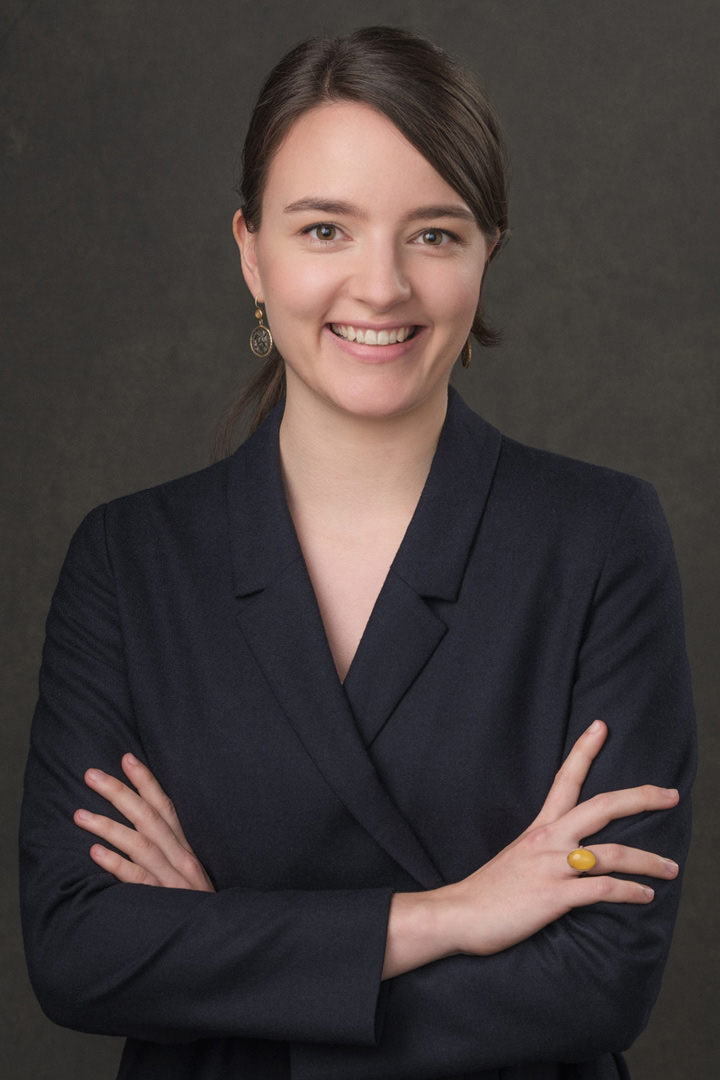 A corporate portrait of a young professional woman